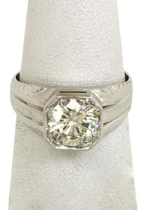 Other Art Deco 2.25ct Round Cut Diamond 18k White Gold Solitaire Ring Size 1