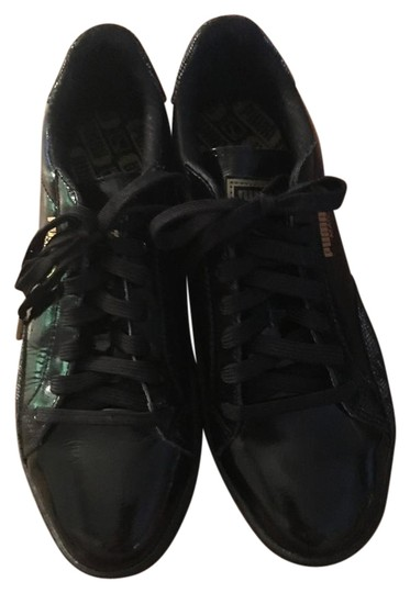 Puma Patent Leather Lace Gold Black Athletic