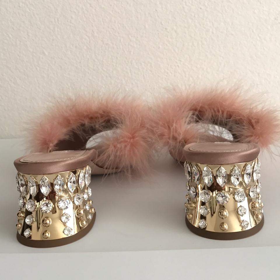 100f1e9fe16 Miu Miu Feather Embellished Crystal Slide Blush Pink Sandals Image 10.  1234567891011