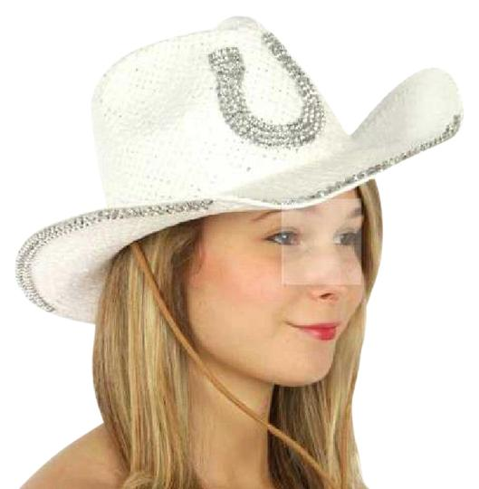 Preload https://item3.tradesy.com/images/white-western-with-horse-shoe-embellishment-hat-21295812-0-1.jpg?width=440&height=440