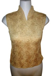 Casual Corner Vintage Sleeveless V-neck Top Gold