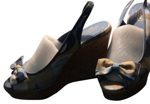 Coach blue and tan Wedges