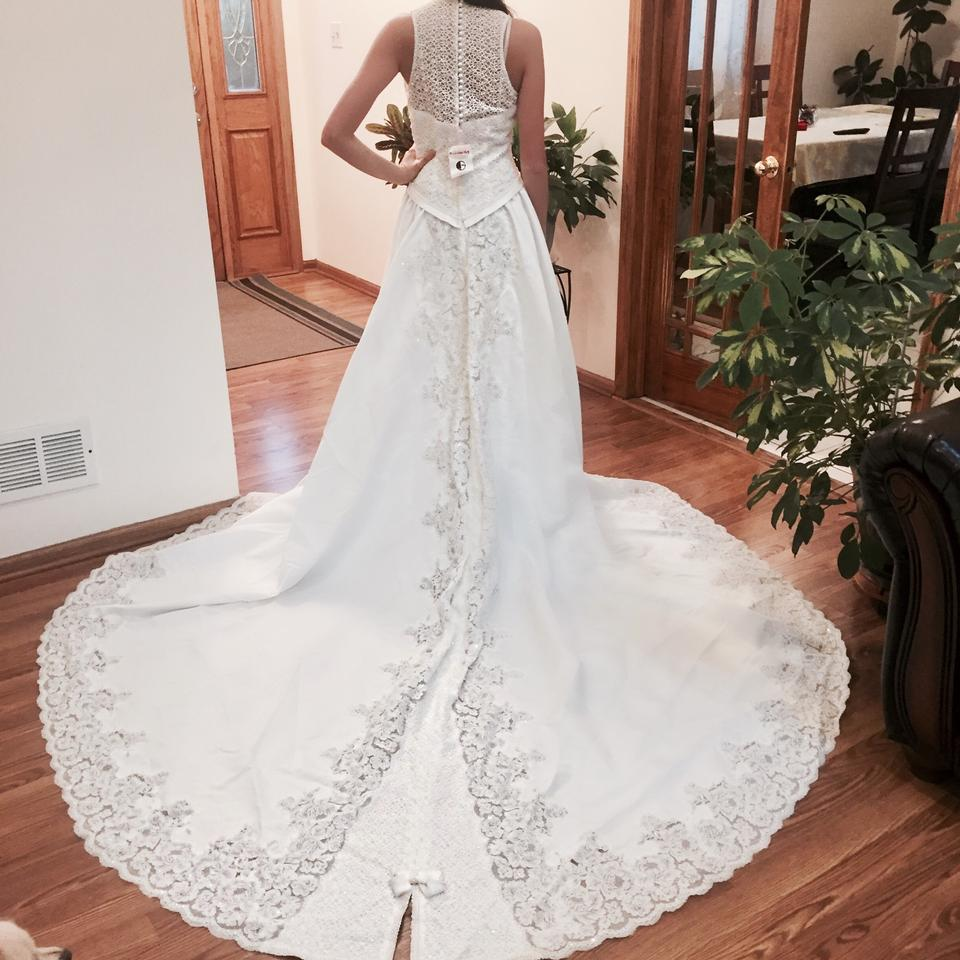 Private Label by G Ivory Embroidered Long Back Gown Feminine Wedding ...