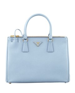 Prada Leather Lux Double Zip Tote in Astrale