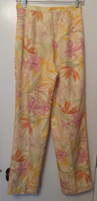 Talbots Floral Slim Silk New New W Tag Straight Pants White + Multi-Color