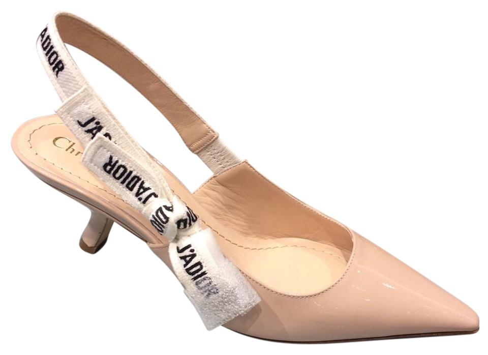 a73f52336a34 Dior Nude   White Limited Edition J adior Slingback 65mm Patent Heels Pumps
