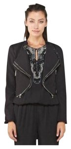 Exposed Zipper Moto Jacket Black Jacket