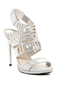 Kenneth Cole Metallic Heels Date Night Cutout Heels Silver Sandals