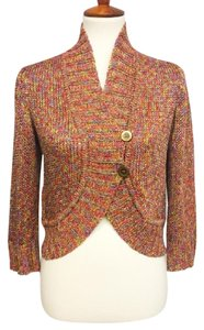 St. John Open Weave Metallic Thread Cardigan