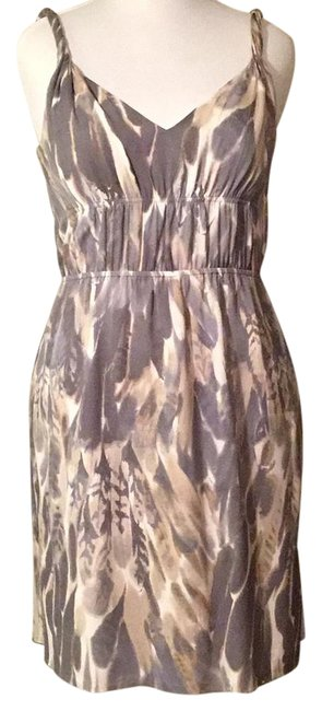Item - Gray and Beige Silk Twisted Straps Mid-length Night Out Dress Size 14 (L)