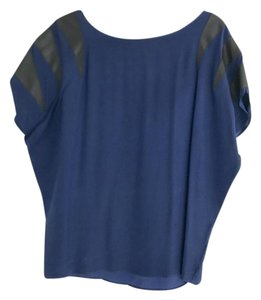 Parker Silk Leather Night Out Top Blue