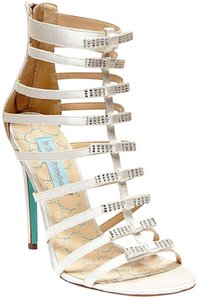 Betsey Johnson Ivory Blue By Tie Satin Caged Sandals Size US 6 Regular (M, B)