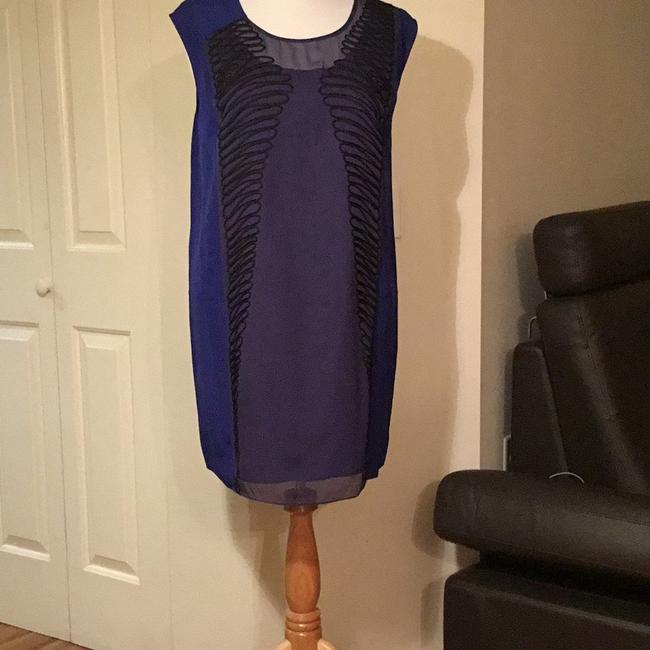 Anthropologe short dress Silk Navy Blue on Tradesy