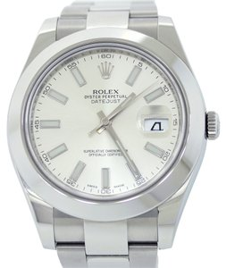 Rolex Authentic 2015 Rolex DateJust II 2 Stainless Steel Stick Domed 116300 41mm Watch Complete with Original Box & Papers