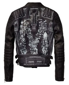 Maison Scotch Leather Artwork Biker Motorcycle Jacket