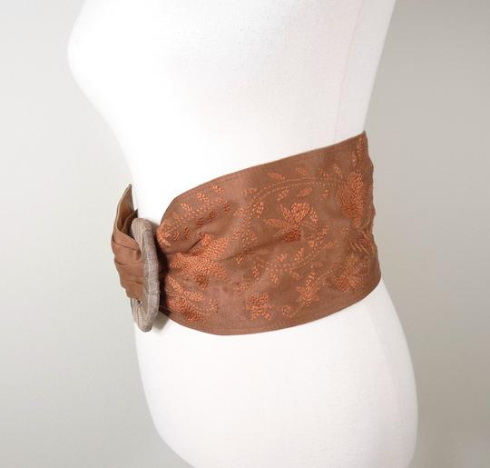 Chan Luu NEW CHAN LUU LEATHER EMBROIDERED WIDE BELT S/M