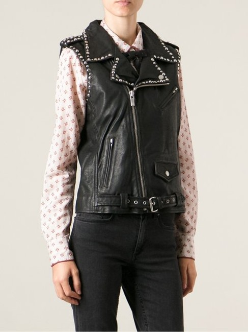 Maison Scotch Leather Biker Sleeveless Motorcycle Jacket
