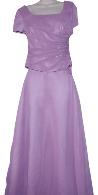 Item - Purple Pink Short Formal Beaded Set Gown 2 Piece Long Cocktail Dress Size 6 (S)