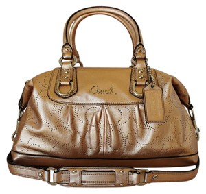 Coach Leather Satchel in Gold-Bronze