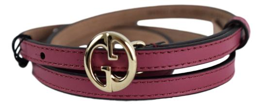Gucci Gucci Womens 362731 Leather Interlocking GG Buckle Skinny Belt 36 90