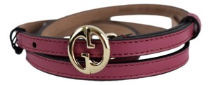 Gucci Gucci Womens 362731 Leather Interlocking GG Buckle Skinny Belt 32 80