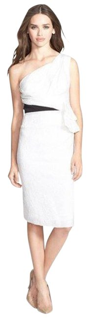 Preload https://item1.tradesy.com/images/vera-wang-ivory-white-and-black-jaquard-silk-mid-length-cocktail-dress-size-10-m-21296765-0-1.jpg?width=400&height=650