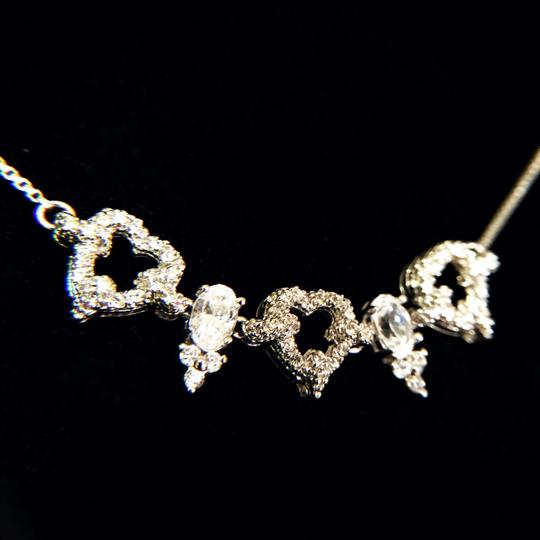 Other vintage rhinestone silver plated cubic zirconia prong set bridal prom necklace