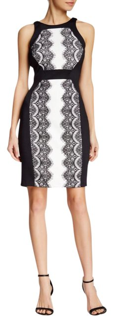 Preload https://item2.tradesy.com/images/sangria-black-and-white-lace-panel-short-night-out-dress-size-petite-8-m-21296781-0-1.jpg?width=400&height=650
