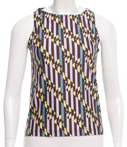 Fendi Zucca Sleeveless Monogram Logo Print Top Purple, Black, White, Gold