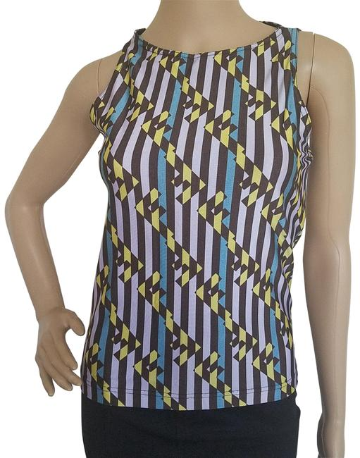 Item - Purple Black White Gold Yellow Multicolor Zucca Print Sleeveless Blouse Size 6 (S)