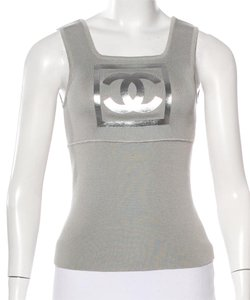 Chanel Metallic Silver Hardware Logo Interlocking Cc Sleeveless Top Grey, Silver