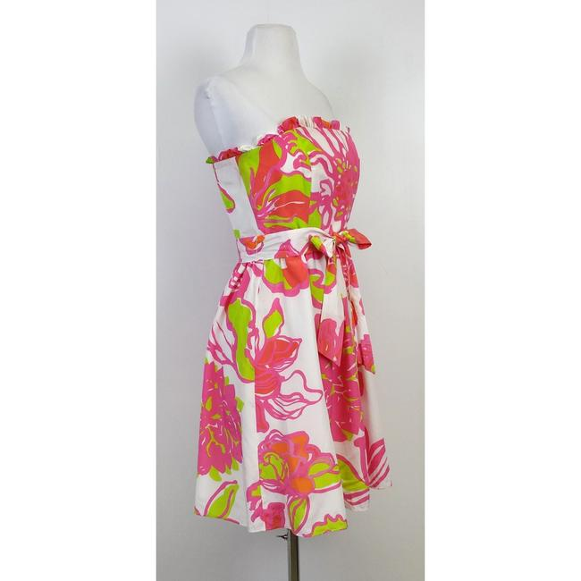 Lilly Pulitzer short dress Multi White Pink Green Floral Strapless on Tradesy