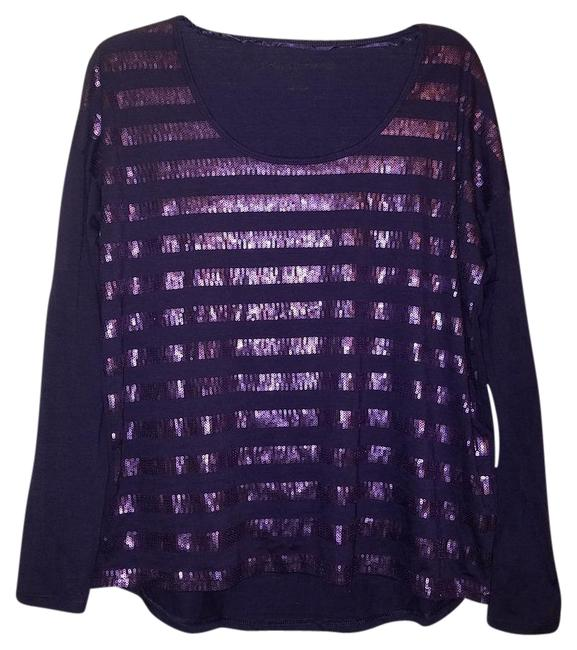 Preload https://img-static.tradesy.com/item/21296986/calvin-klein-purple-sequin-metallic-small-blouse-size-6-s-0-1-650-650.jpg