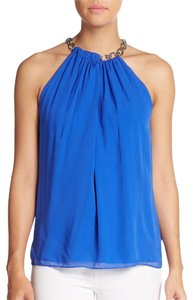 Diane von Furstenberg Silk Gold Hardware Halter Sleeveless Top Blue