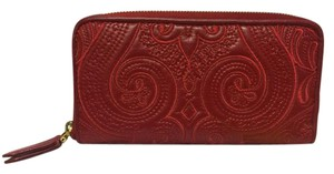 Etro NWT ETRO Embroidered Leather Paisley Zip Wallet Red