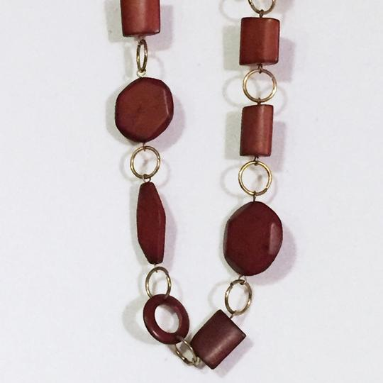 New York & Company New York and company wood and brass strand necklace long
