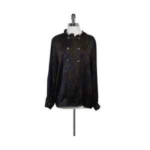 Valentino Brown Paisley Silk Top