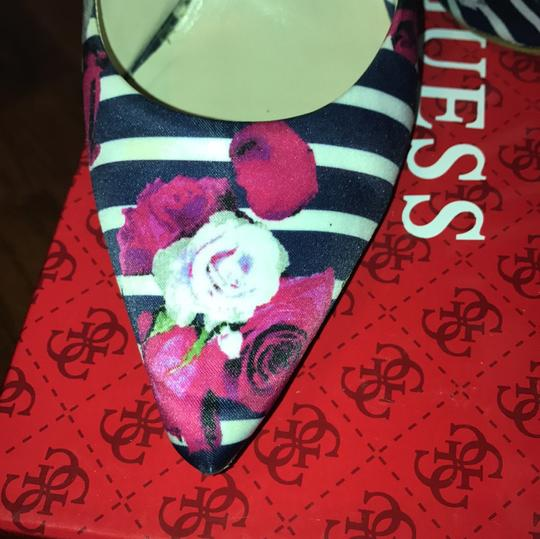 Guess Rose Pattern .... Navy and white stripes with Pink Roses Pumps