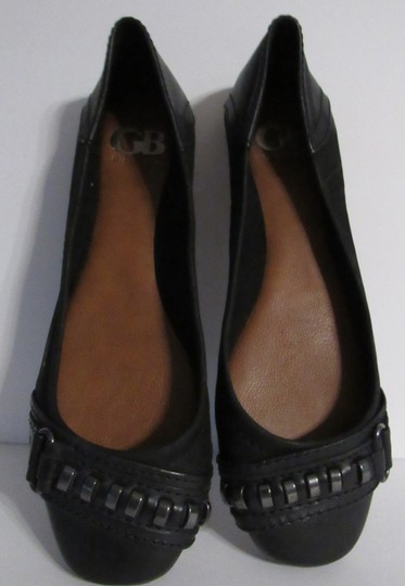 Gianni Bini Leather Ring Ballet Silver black Flats