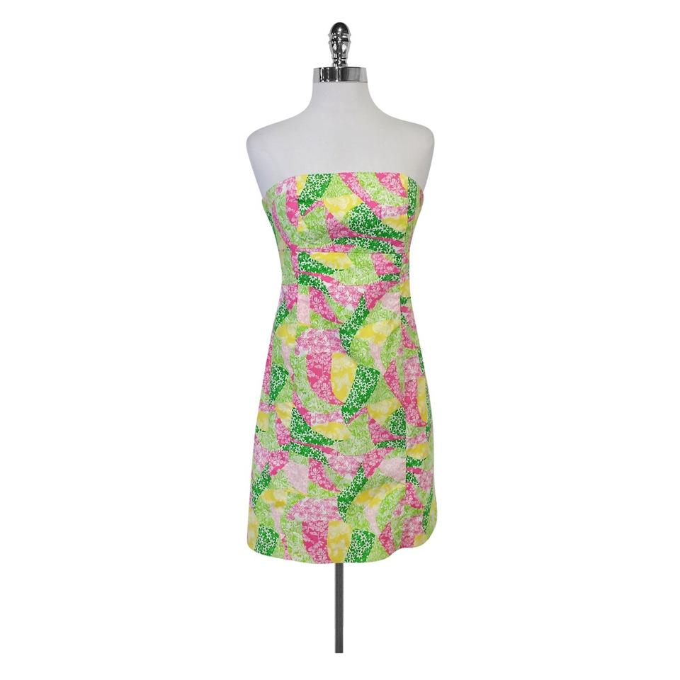 5700b439f66f Lilly Pulitzer short dress Multi Patchwork Tie Back Strapless on Tradesy  Image 0 ...