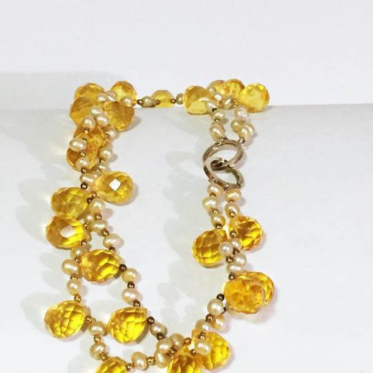 Other vintage stunning heavy genuine pearl and briolette faceted citrine bead necklace