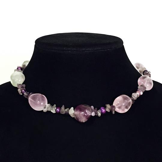Other heavy spring wrap twist large and round amethyst beaded bracelet
