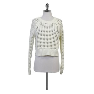 Rebecca Taylor White Open Knit Sweater