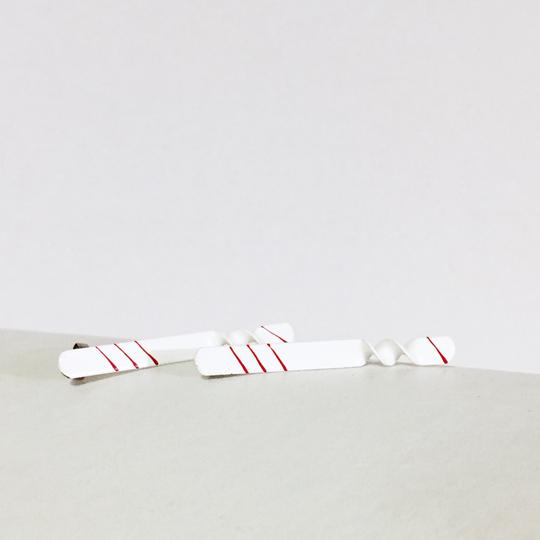 Other vintage white enamel one of a kind linear painted stud earrings
