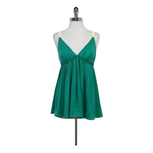 Elizabeth and James Green Pleated Top