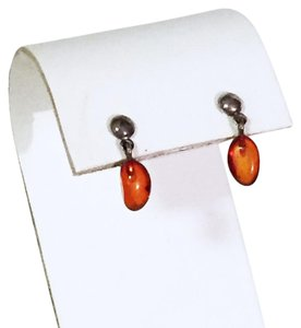 Other 925 Sterling silver stud earrings dangle amber drop