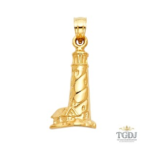 Top Gold & Diamond Jewelry Lighthouse Pendant, 14K Yellow Gold, Lighthouse Pendant