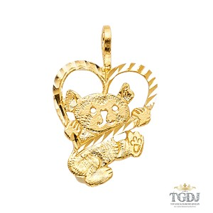 Top Gold & Diamond Jewelry Baby Bear with Heart Pendant, 14K Yellow Gold, Baby Bear with Heart
