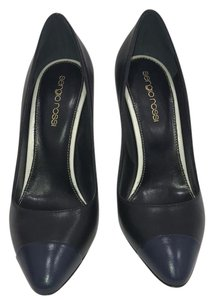 Sergio Rossi Black, Navy blue tip and white heel Pumps