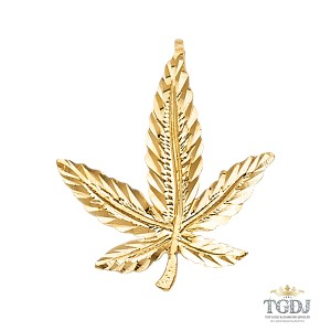 Top Gold & Diamond Jewelry Marijuana Leaf Pendant, 14K Yellow Gold, Marijuana Leaf Pendant